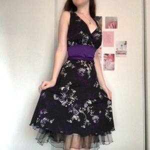 Elegant black and purple floral dress